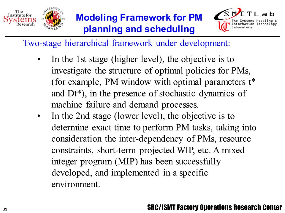 SRC/ISMT Factory Operations Research Center 39 Two-stage hierarchical framework under development: In the 1st stage (higher level), the objective is to investigate the structure of optimal policies for PMs, (for example, PM window with optimal parameters t* and Dt*), in the presence of stochastic dynamics of machine failure and demand processes.