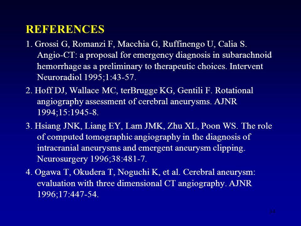 34 REFERENCES 1. Grossi G, Romanzi F, Macchia G, Ruffinengo U, Calia S.