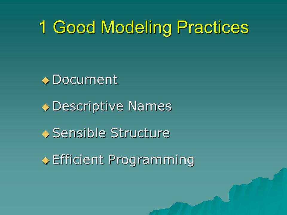 1 Good Modeling Practices  Document  Descriptive Names  Sensible Structure  Efficient Programming