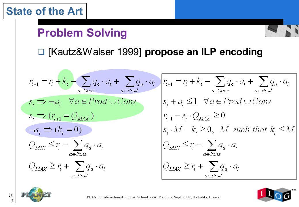 105 PLANET International Summer School on AI Planning, Sept.
