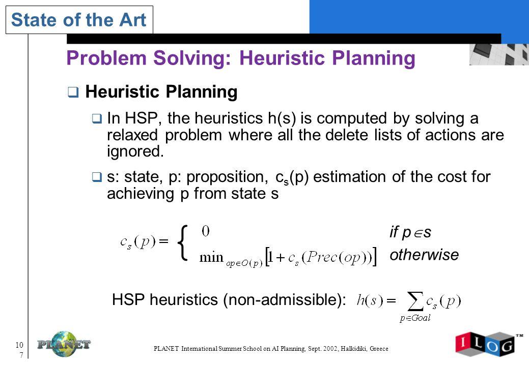 107 PLANET International Summer School on AI Planning, Sept.