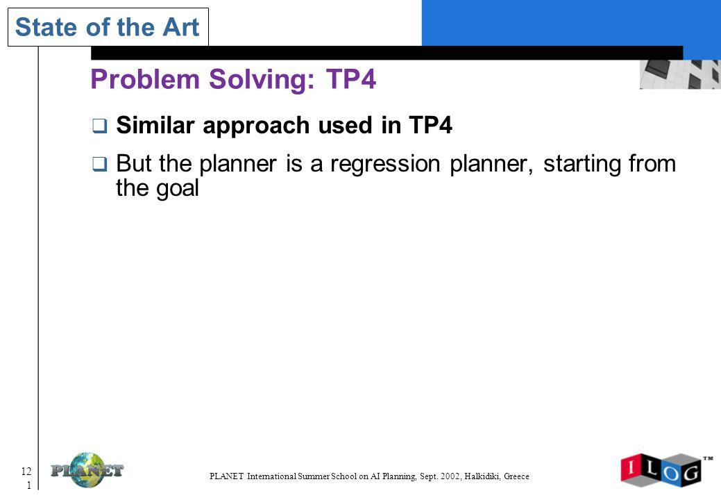 121 PLANET International Summer School on AI Planning, Sept.