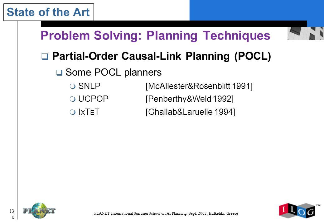 130 PLANET International Summer School on AI Planning, Sept.