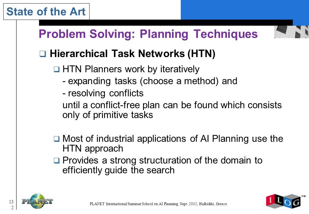 132 PLANET International Summer School on AI Planning, Sept.