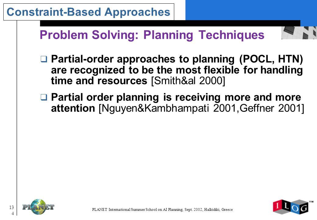 134 PLANET International Summer School on AI Planning, Sept.