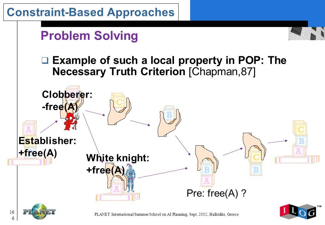 166 PLANET International Summer School on AI Planning, Sept.