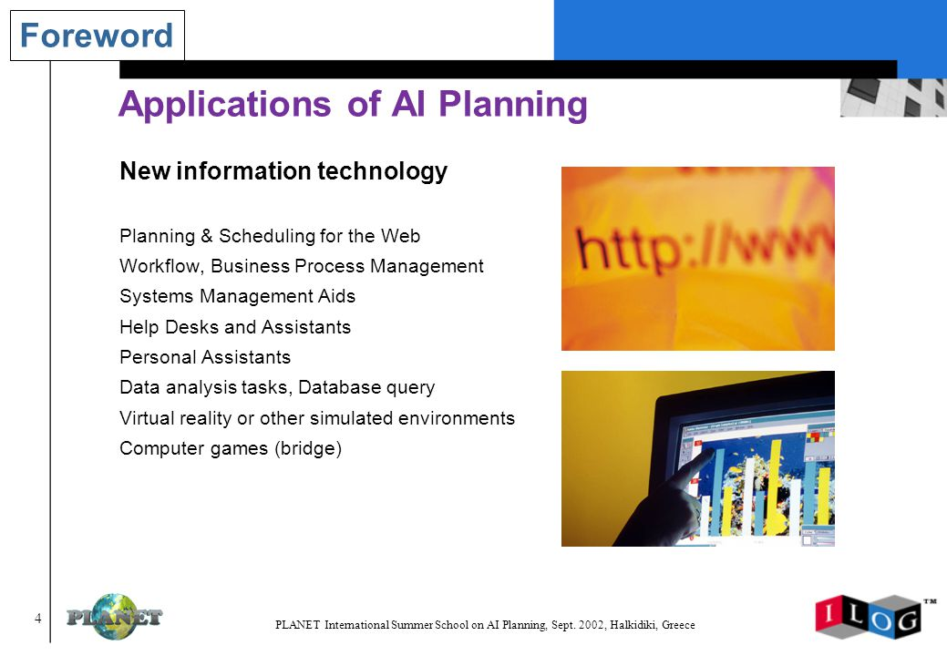 55 PLANET International Summer School on AI Planning, Sept.