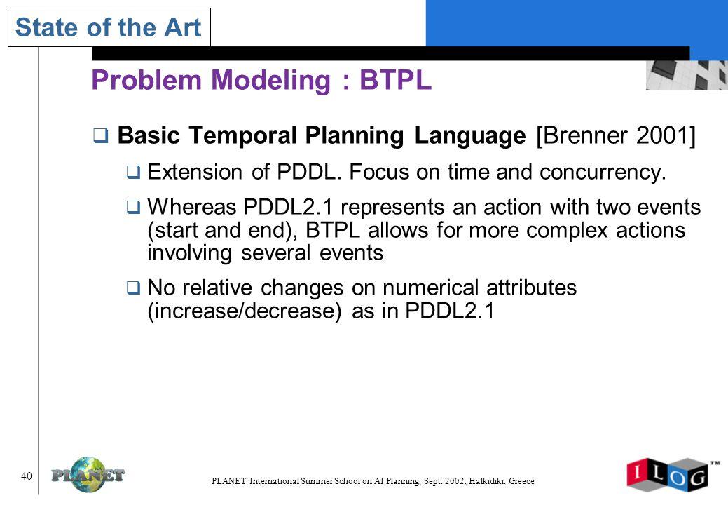 40 PLANET International Summer School on AI Planning, Sept.