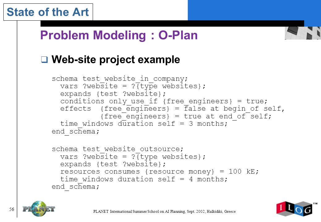 56 PLANET International Summer School on AI Planning, Sept.