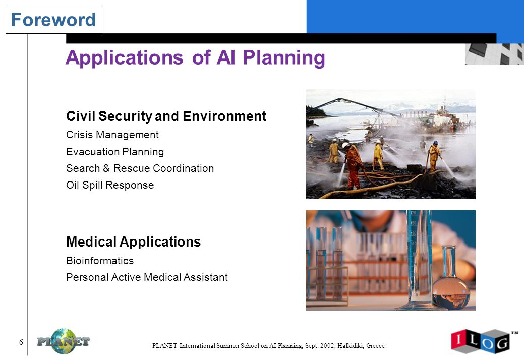 177 PLANET International Summer School on AI Planning, Sept.