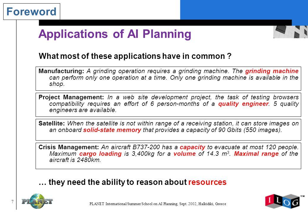 198 PLANET International Summer School on AI Planning, Sept.