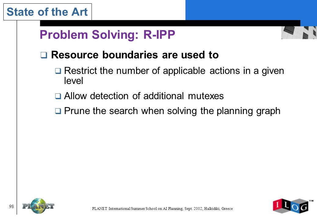 98 PLANET International Summer School on AI Planning, Sept.