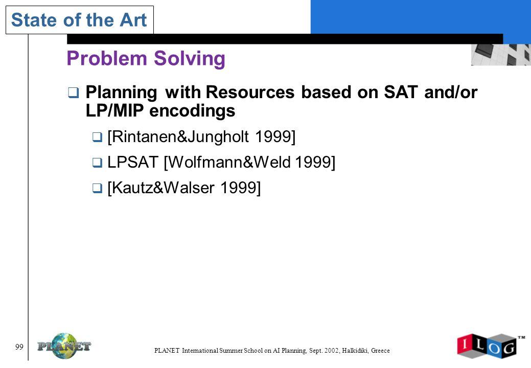 99 PLANET International Summer School on AI Planning, Sept.