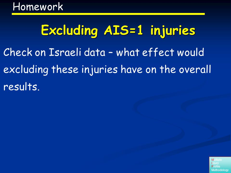 Multiple Injury Profile Methodology Check on Israeli data – what effect would excluding these injuries have on the overall results.