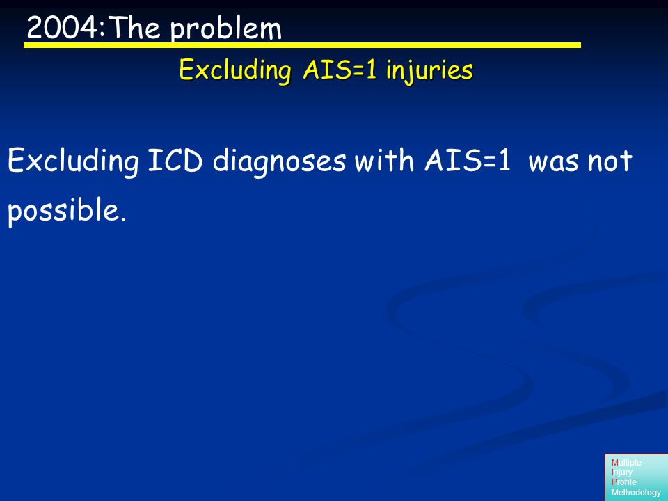 Multiple Injury Profile Methodology Excluding ICD diagnoses with AIS=1 was not possible.
