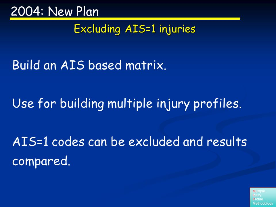 Multiple Injury Profile Methodology AIS matrix is built but needs validation.