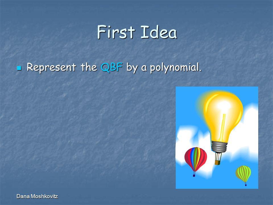 Dana Moshkovitz First Idea Represent the QBF by a polynomial. Represent the QBF by a polynomial.