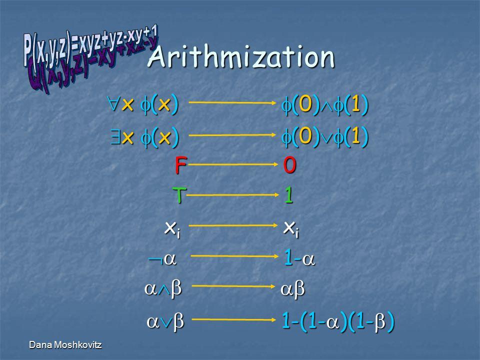 Dana Moshkovitz Arithmization  xixixixi   1-   xixixixi 1-(1-  )(1-  ) F 0 T 1 x (x)x (x)x (x)x (x) x (x)x (x)x (x)x (x)  (0)  (1)  (0)  (1)