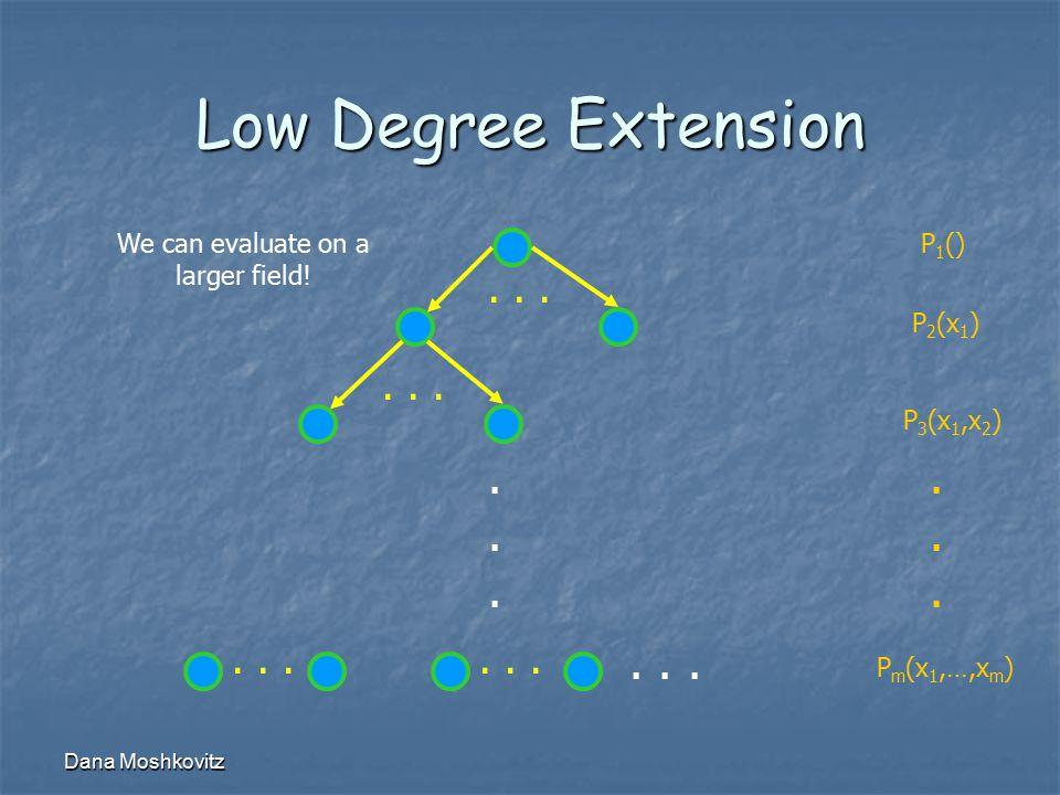 Dana Moshkovitz Low Degree Extension......... P 1 () P 2 (x 1 ) P 3 (x 1,x 2 ) P m (x 1,…,x m )...