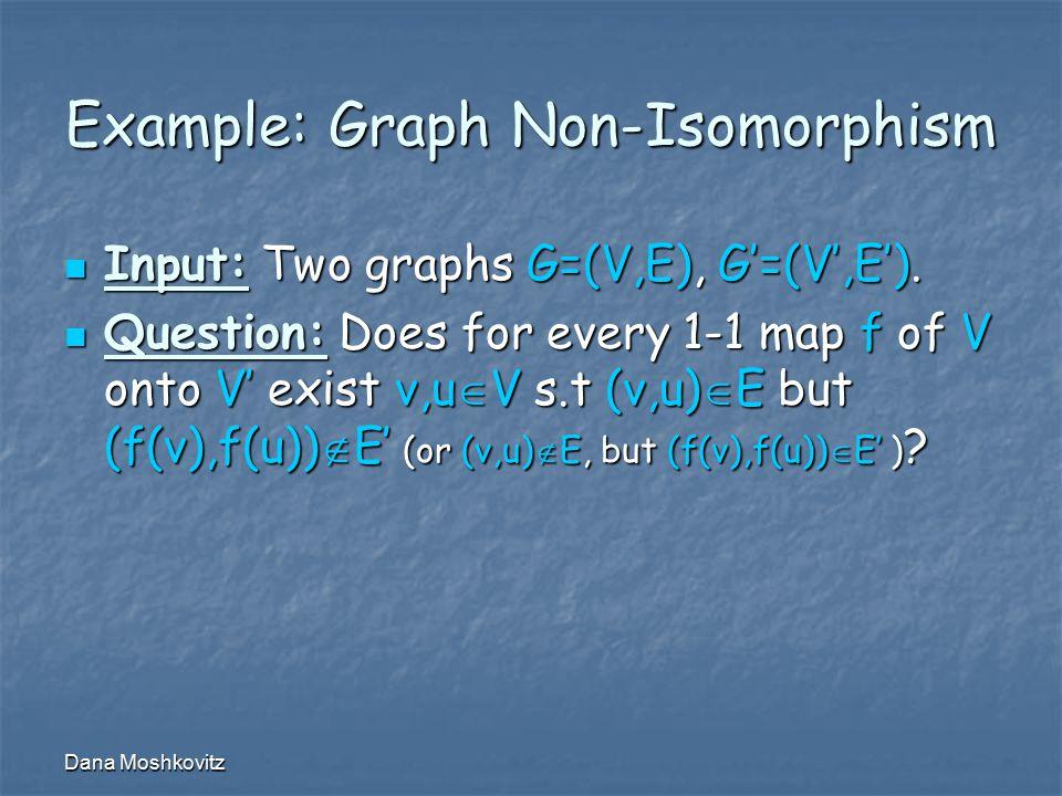 Dana Moshkovitz Example: Graph Non-Isomorphism Input: Two graphs G=(V,E), G'=(V',E').