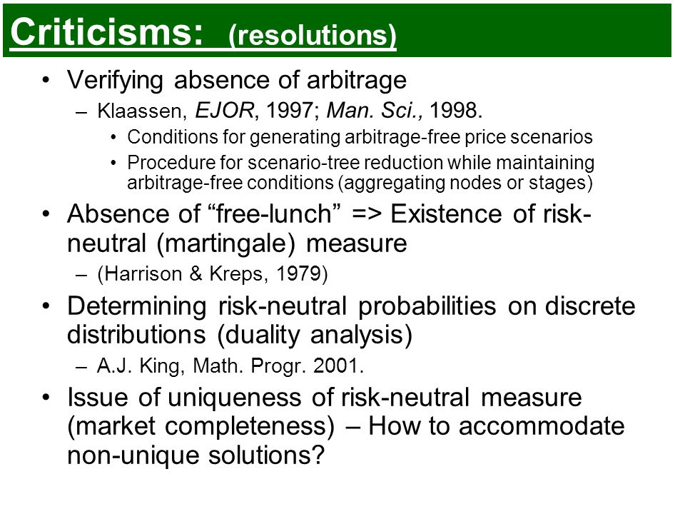 Criticisms: (resolutions) Verifying absence of arbitrage –Klaassen, EJOR, 1997; Man.