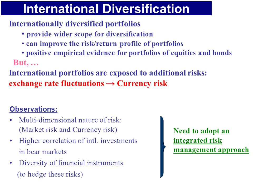 International Diversification Internationally diversified portfolios provide wider scope for diversification can improve the risk/return profile of portfolios positive empirical evidence for portfolios of equities and bonds But, … International portfolios are exposed to additional risks: → exchange rate fluctuations → Currency risk Observations: Multi-dimensional nature of risk: (Market risk and Currency risk) Higher correlation of intl.