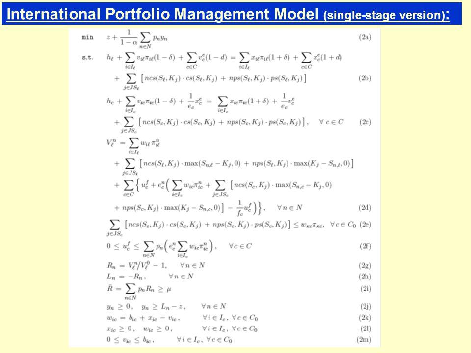 International Portfolio Management Model (single-stage version) :