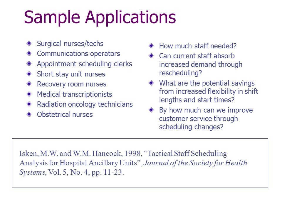 Sample Applications Surgical nurses/techs Communications operators Appointment scheduling clerks Short stay unit nurses Recovery room nurses Medical t
