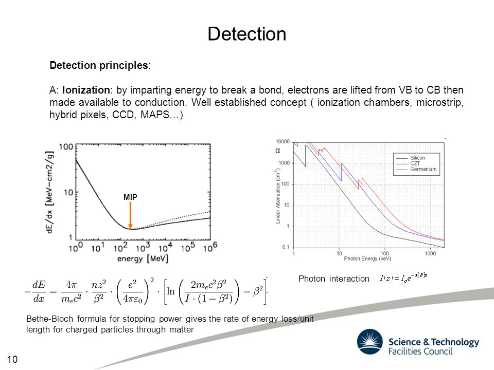 Detection Detection principles: A: Ionization: by imparting energy to break a bond, electrons are lifted from VB to CB then made available to conducti