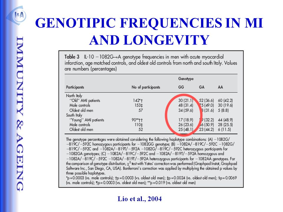 GENOTIPIC FREQUENCIES IN MI AND LONGEVITY Lio et al., 2004