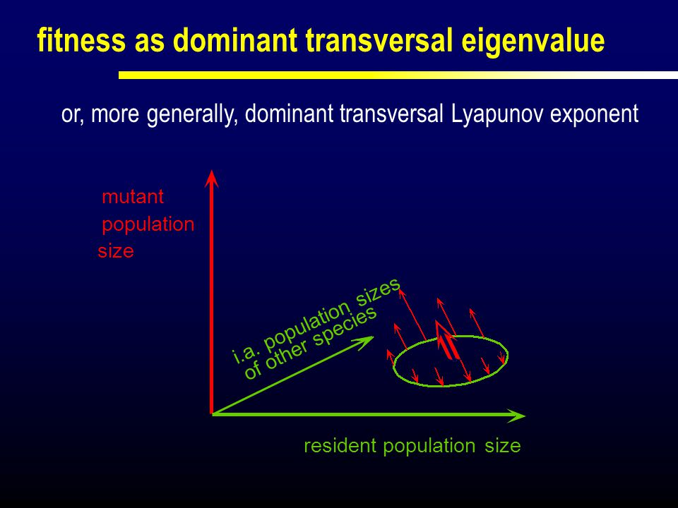 resident population size i.a. population sizes mutant population size or, more generally, dominant transversal Lyapunov exponent fitness as dominant t