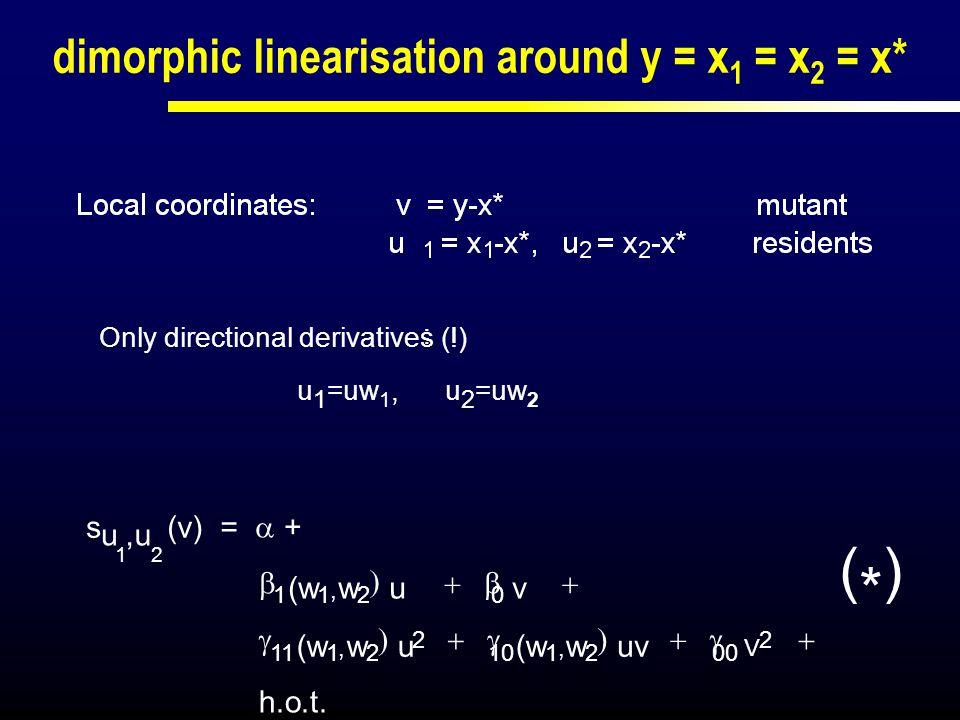 dimorphic linearisation around y = x 1 = x 2 = x*   s u,u (v) =  +  1 (w 1, w 2  u  0 v   11 (w 1, w 2  u 2  10 (w 1, w 2  u
