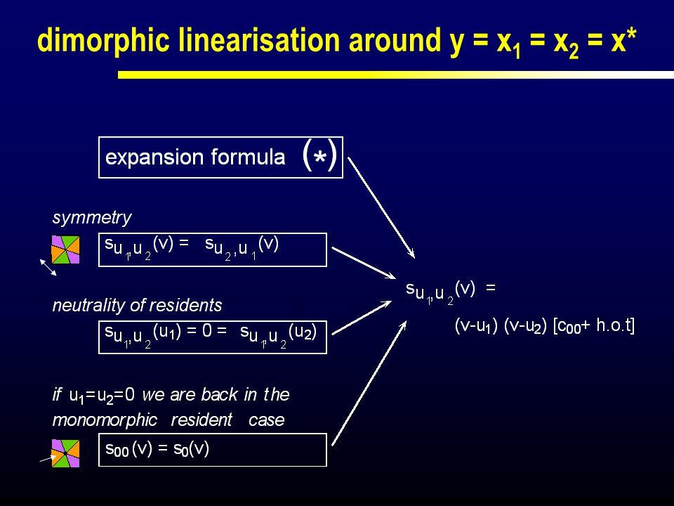 dimorphic linearisation around y = x 1 = x 2 = x*