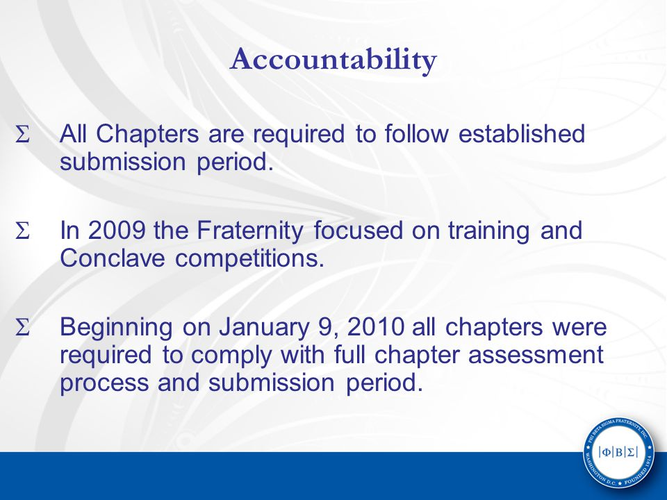 Accountability  All Chapters are required to follow established submission period.