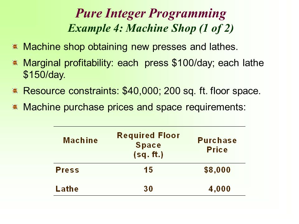 Machine shop obtaining new presses and lathes. Marginal profitability: each press $100/day; each lathe $150/day. Resource constraints: $40,000; 200 sq