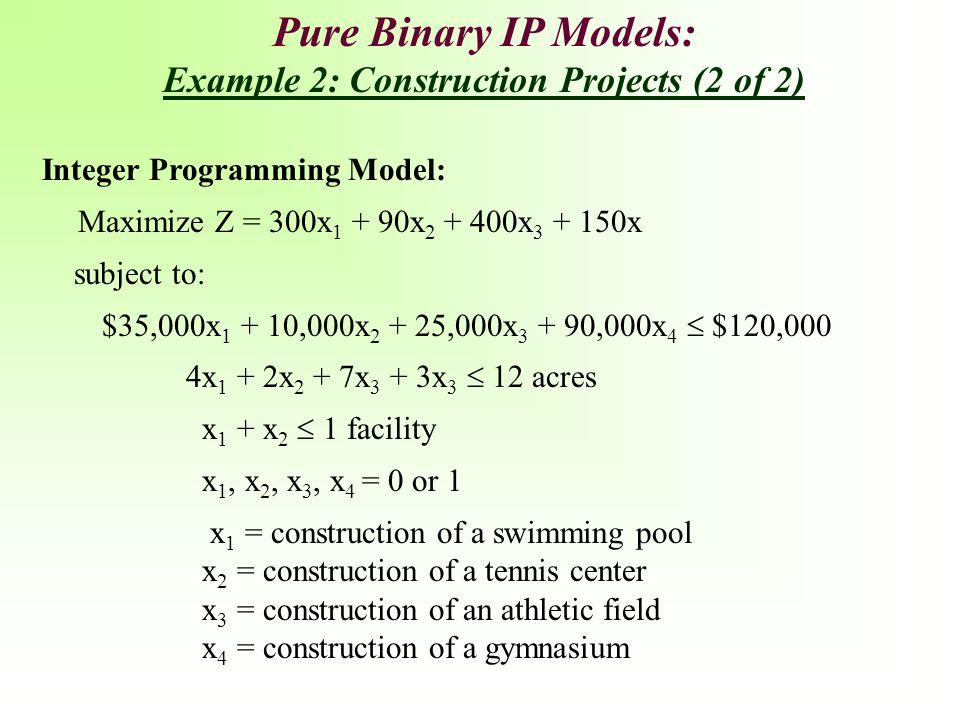 Integer Programming Model: Maximize Z = 300x 1 + 90x 2 + 400x 3 + 150x subject to: $35,000x 1 + 10,000x 2 + 25,000x 3 + 90,000x 4  $120,000 4x 1 + 2x