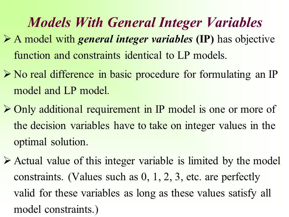 General Integer Variables: Mixed Integer Programming Models