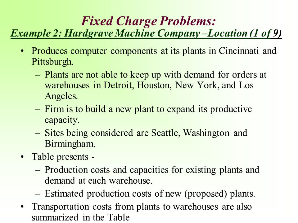 Fixed Charge Problems: Produces computer components at its plants in Cincinnati and Pittsburgh. –Plants are not able to keep up with demand for orders