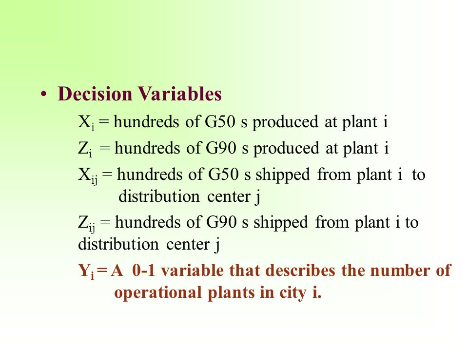 Decision Variables X i = hundreds of G50 s produced at plant i Z i = hundreds of G90 s produced at plant i X ij = hundreds of G50 s shipped from plant