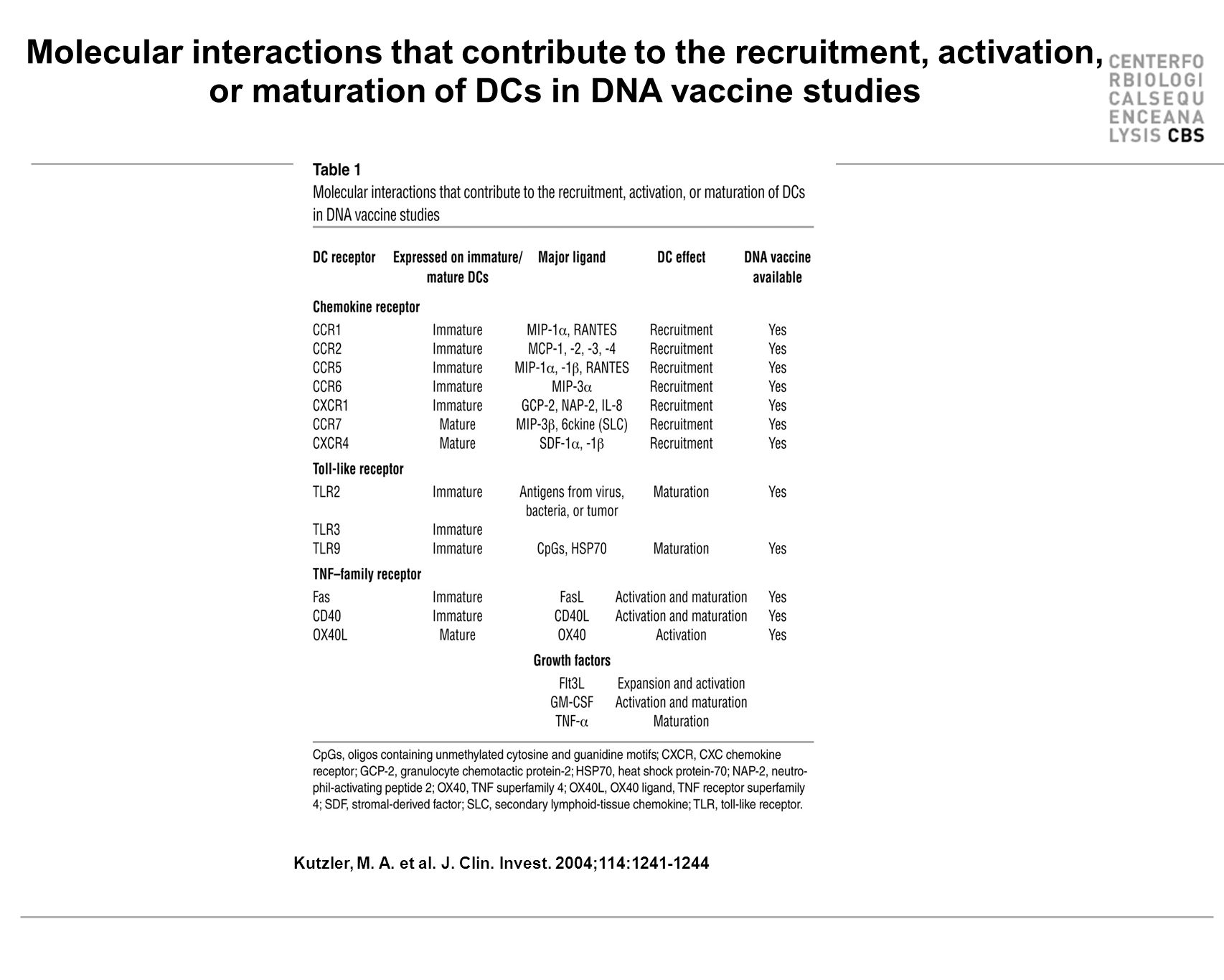 Kutzler, M. A. et al. J. Clin. Invest. 2004;114:1241-1244 Molecular interactions that contribute to the recruitment, activation, or maturation of DCs