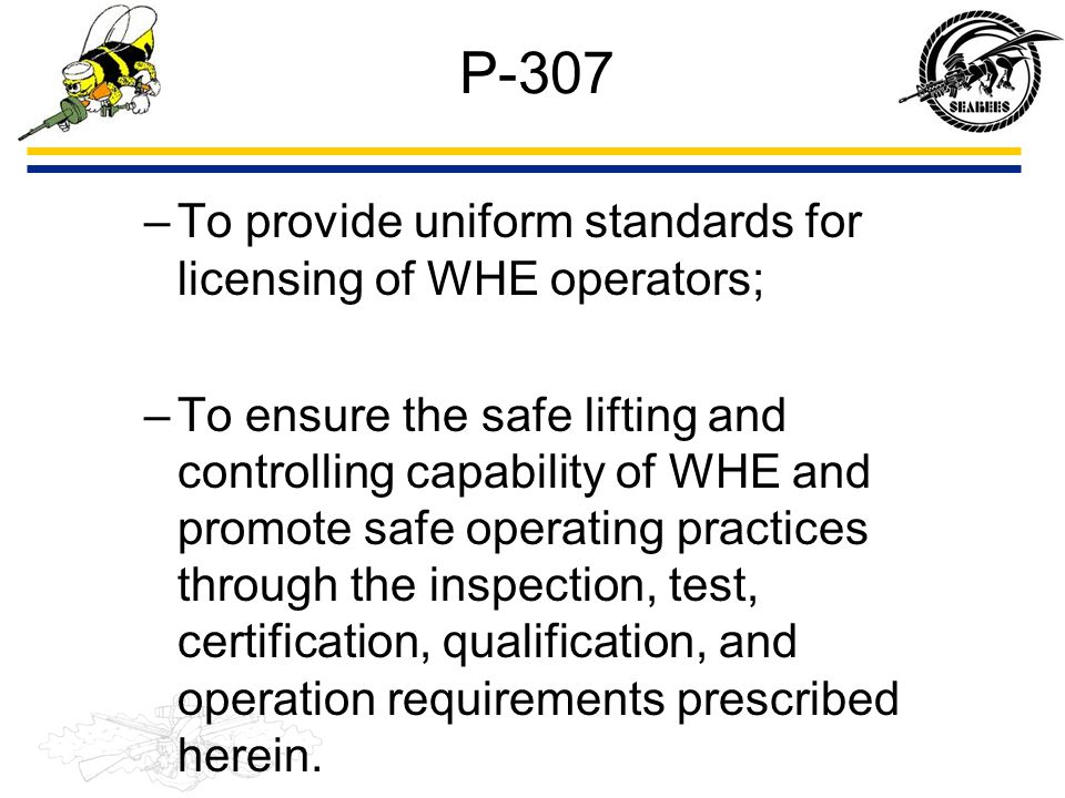 P-307 –To provide uniform standards for licensing of WHE operators; –To ensure the safe lifting and controlling capability of WHE and promote safe ope