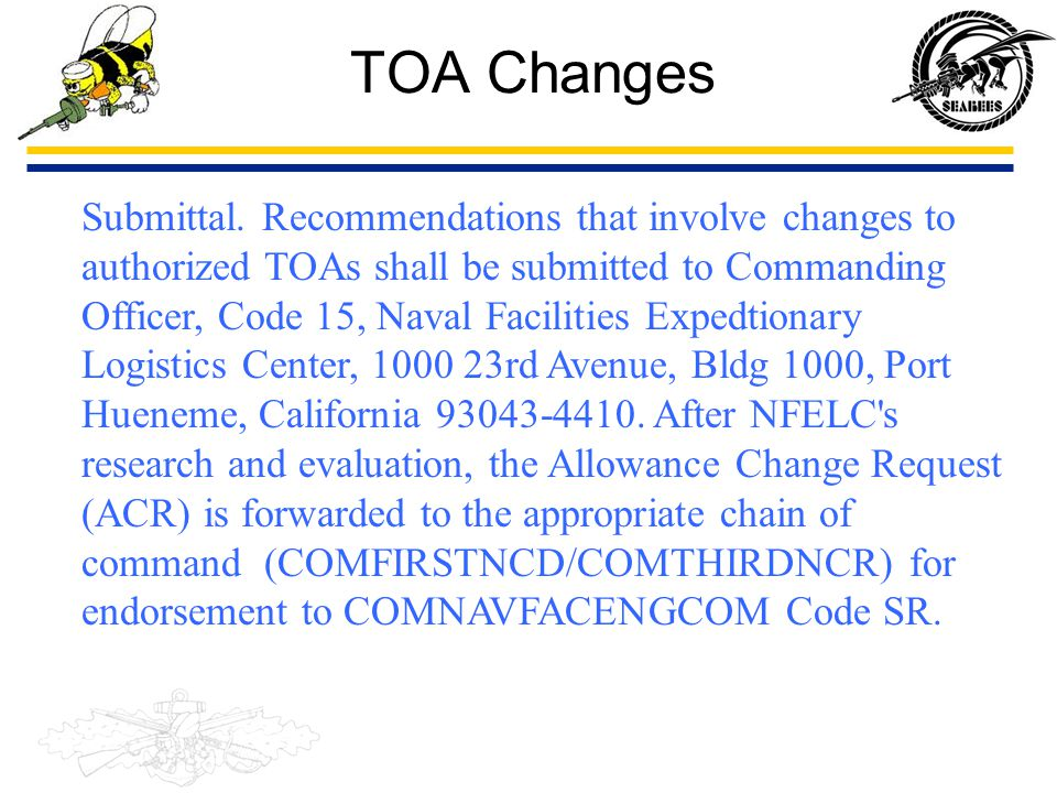 TOA Changes Submittal. Recommendations that involve changes to authorized TOAs shall be submitted to Commanding Officer, Code 15, Naval Facilities Exp