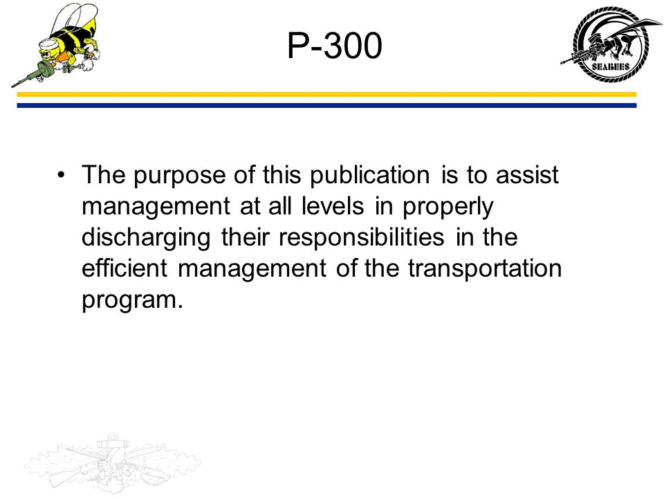 P-300 The purpose of this publication is to assist management at all levels in properly discharging their responsibilities in the efficient management