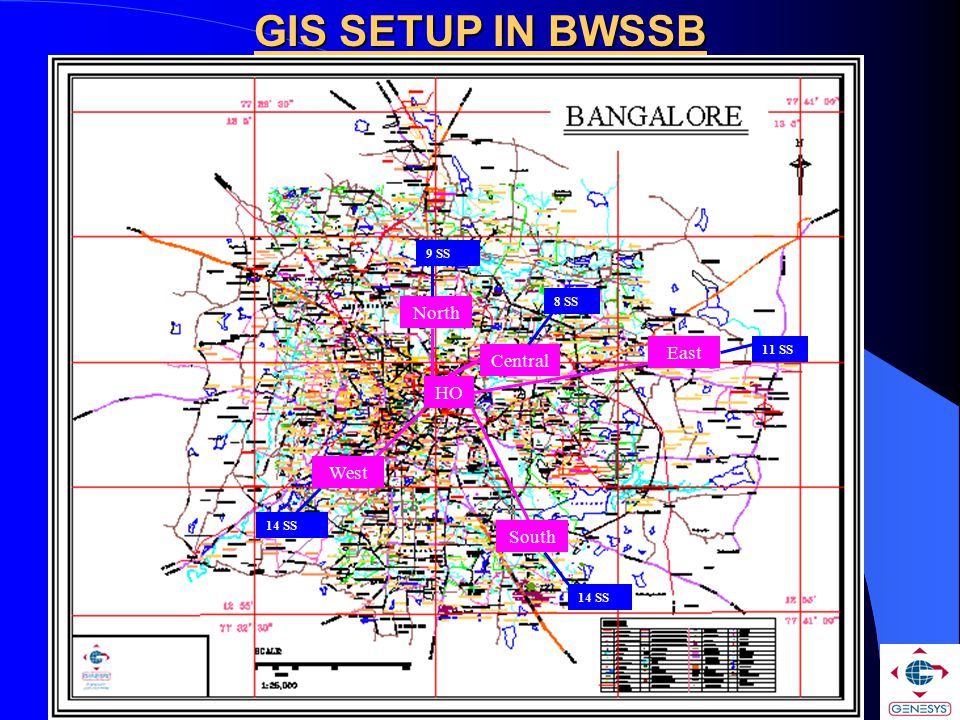 GIS SETUP IN BWSSB HO Central East West North South 11 SS 14 SS 9 SS 8 SS