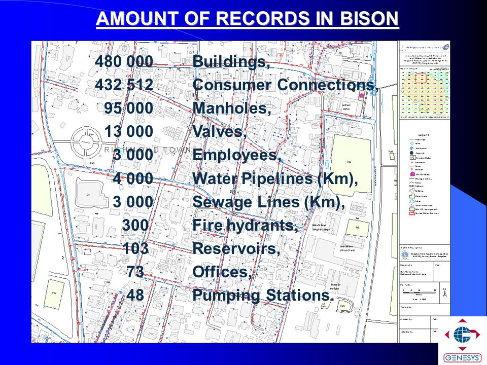 480 000 Buildings, 432 512 Consumer Connections, 95 000 Manholes, 13 000 Valves, 3 000 Employees, 4 000 Water Pipelines (Km), 3 000Sewage Lines (Km),