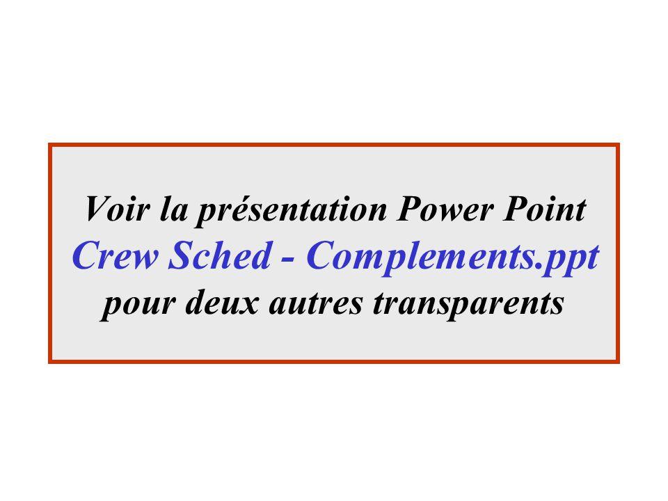 Voir la présentation Power Point Crew Sched - Complements.ppt pour deux autres transparents