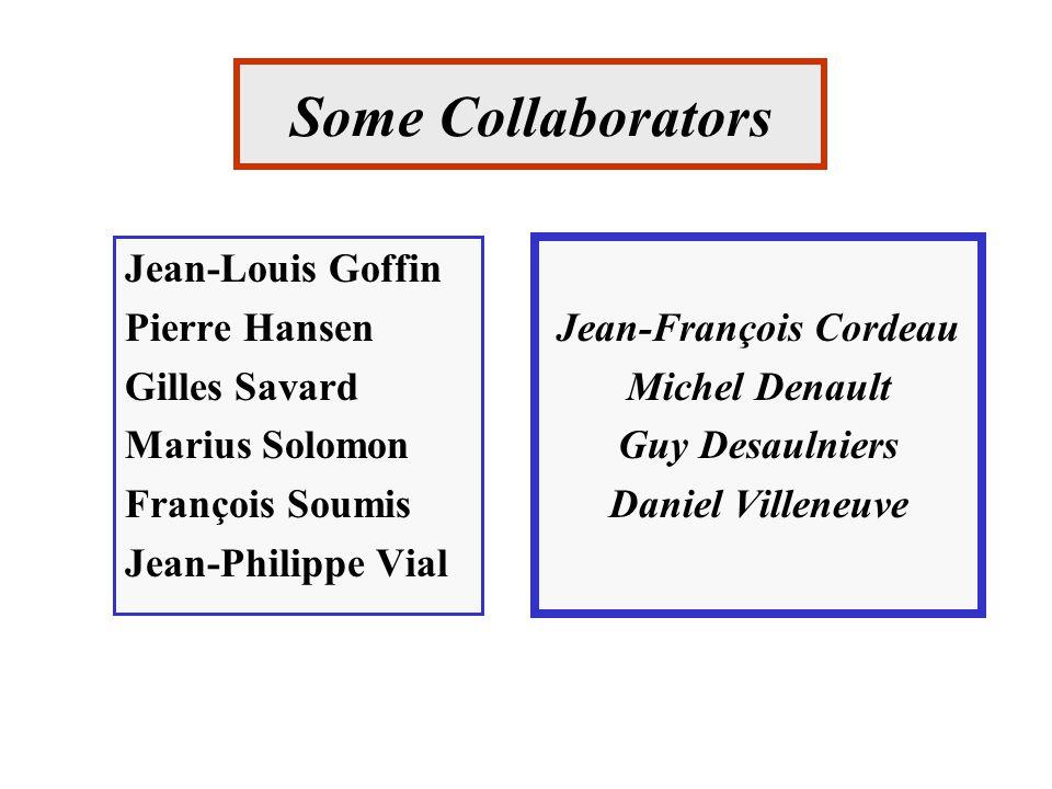 Some Collaborators Jean-Louis Goffin Pierre Hansen Gilles Savard Marius Solomon François Soumis Jean-Philippe Vial Jean-François Cordeau Michel Denault Guy Desaulniers Daniel Villeneuve