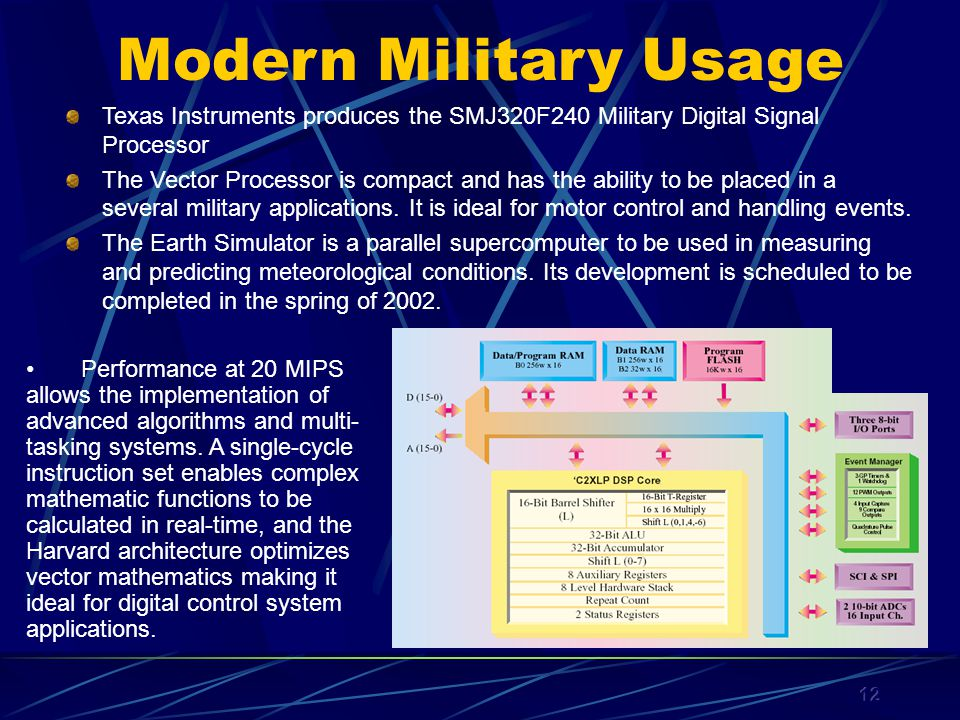 12 Modern Military Usage Texas Instruments produces the SMJ320F240 Military Digital Signal Processor The Vector Processor is compact and has the ability to be placed in a several military applications.
