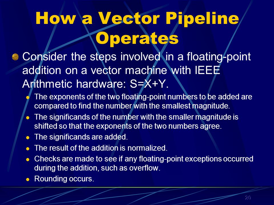20 How a Vector Pipeline Operates Consider the steps involved in a floating-point addition on a vector machine with IEEE Arithmetic hardware: S=X+Y.