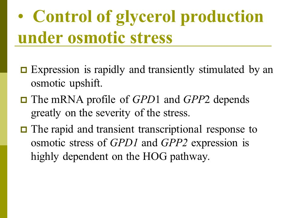 Control of glycerol production under osmotic stress  Expression is rapidly and transiently stimulated by an osmotic upshift.